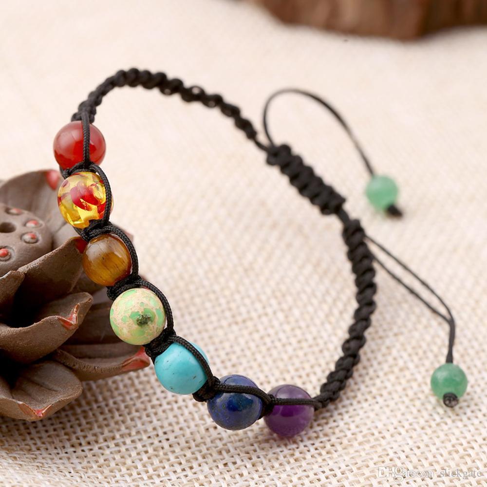 Lava Rock Cura Equilíbrio Rodada Corda Trançada Pulseiras De Energia Bonita Mulher Mista de Pedra Beads Trança B125S