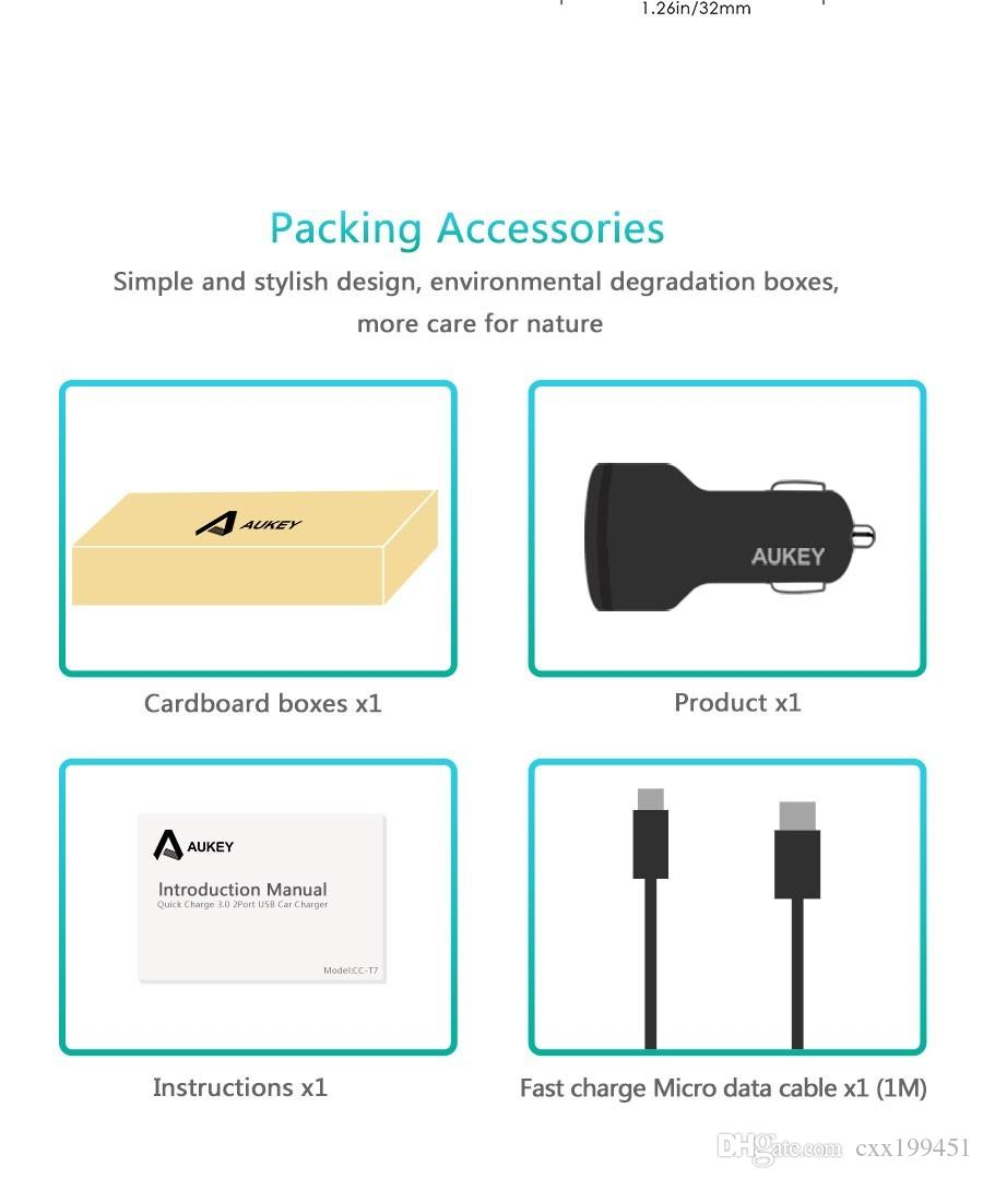 AUKEY Qualcomm Quick Charger 3.0 9V 12V 2 Port USB Car Charger for iPhone 7 6s iPad Samsung Xiaomi QC2.0 Compatible
