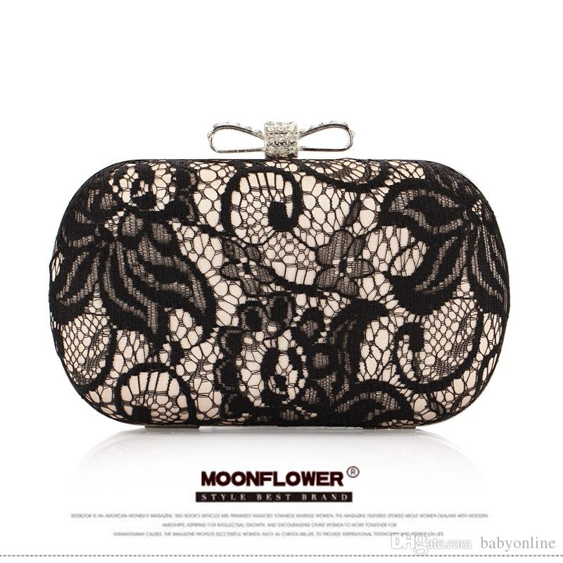 Black Lace Sequins Clutch Evening Bags Handbags High Quality Evening Ladies Purses For Party Bridal Hand Bags CPA807