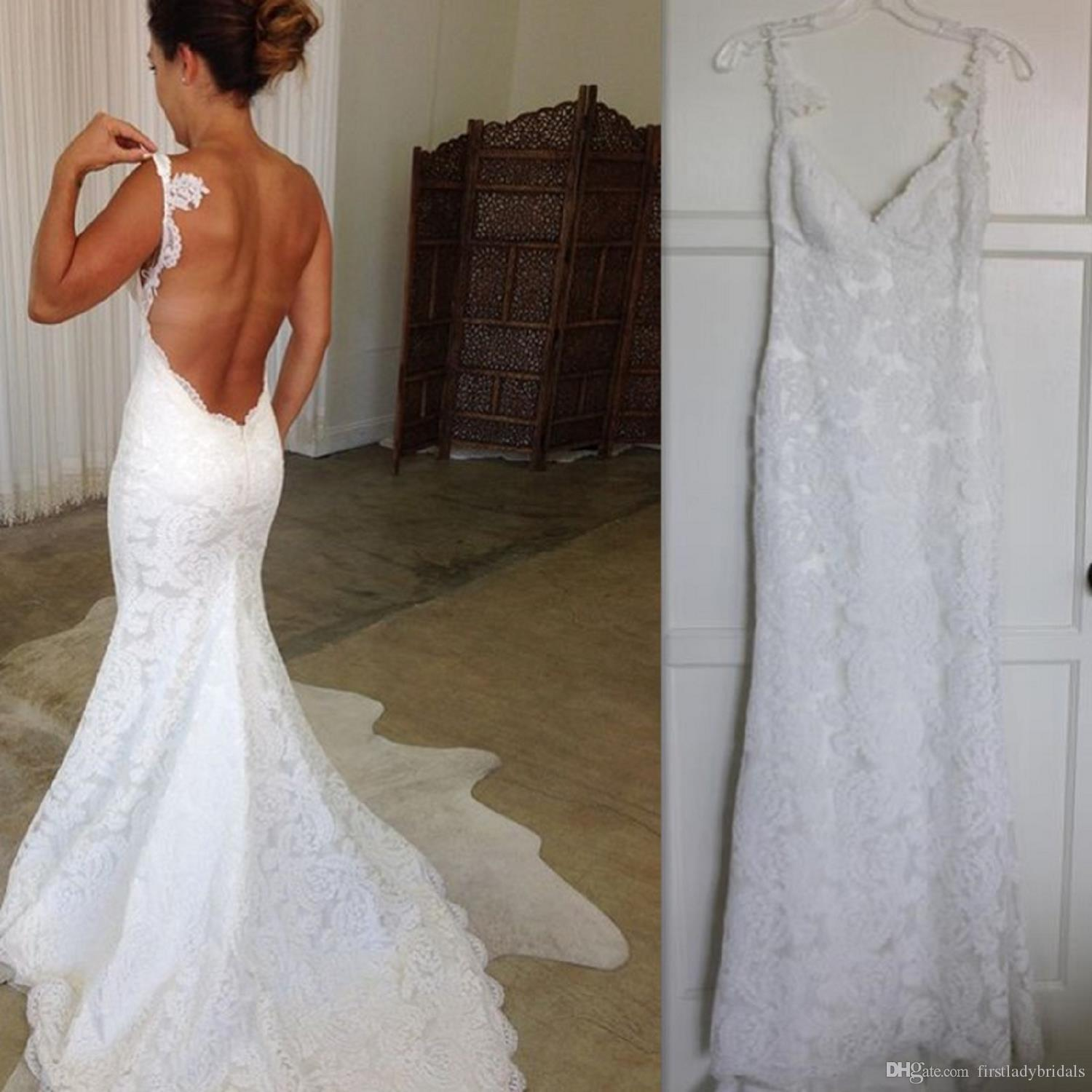 2017 beach white lace backless wedding dresses mermaid for Vintage backless wedding dresses