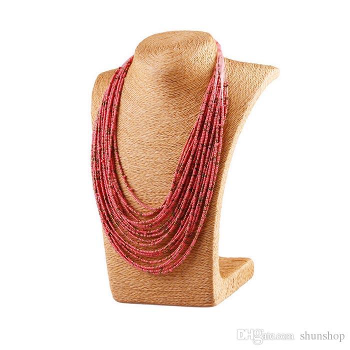 Stile della Boemia 20 strati multistrato bavaglino collare in rilievo di vetro collana di gioielli moda le donne all'ingrosso