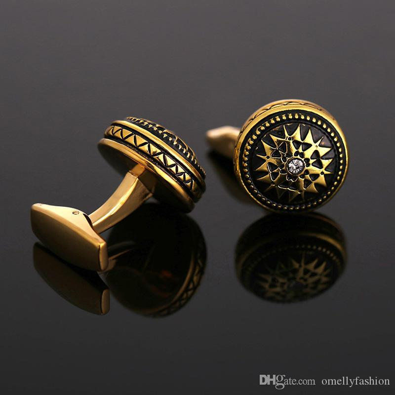 Abotoaduras de luxo clássico do vintage para homens camisa de ouro cheio de abotoaduras de alta qualidade moda marca de cristal de design de jóias melhor homem abotoaduras