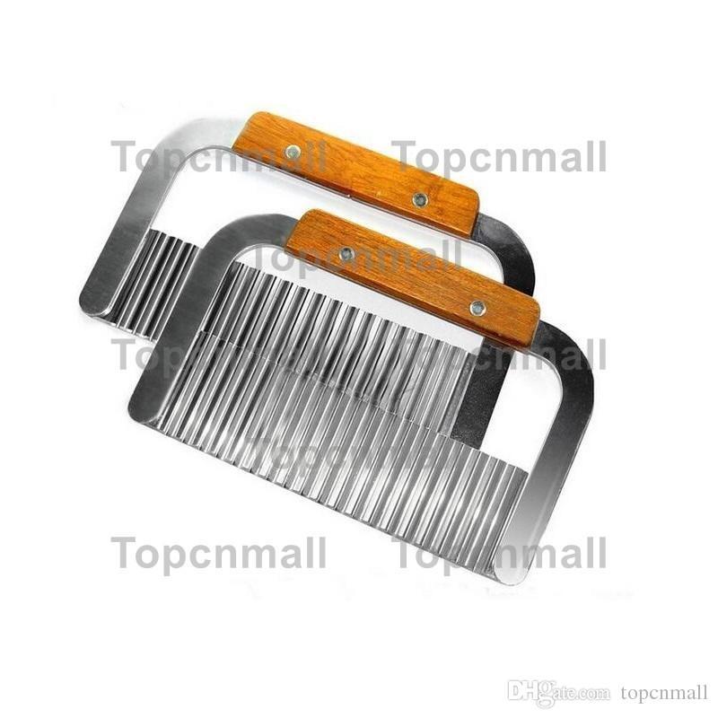 Hardwood Handle Stainless Steel Crinkle Wax Vegetable Potato Soap Cutter Wavy Slicer Chopper TPML-5469