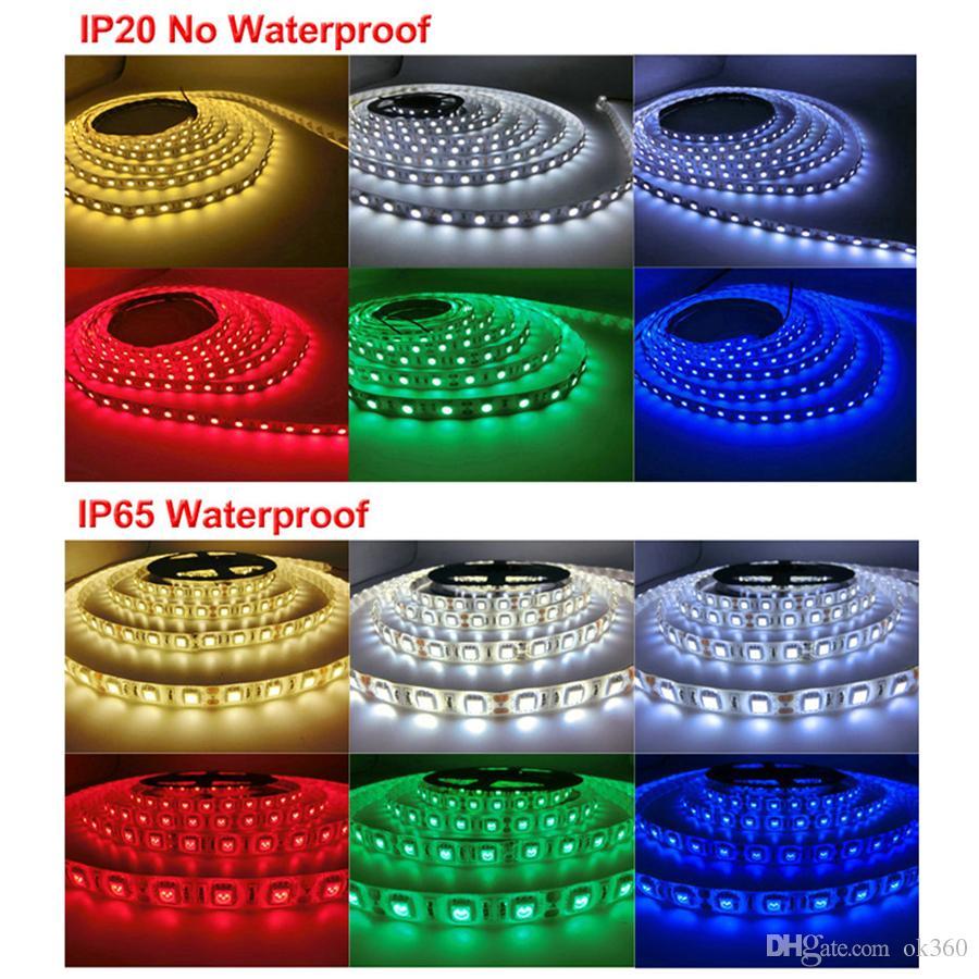 Super brillante 5m 5630 5050 3528 SMD 60LED / M LED tira luz impermeable flexible 300led fresco / puro / blanco cálido / rojo / azul / verde 12V