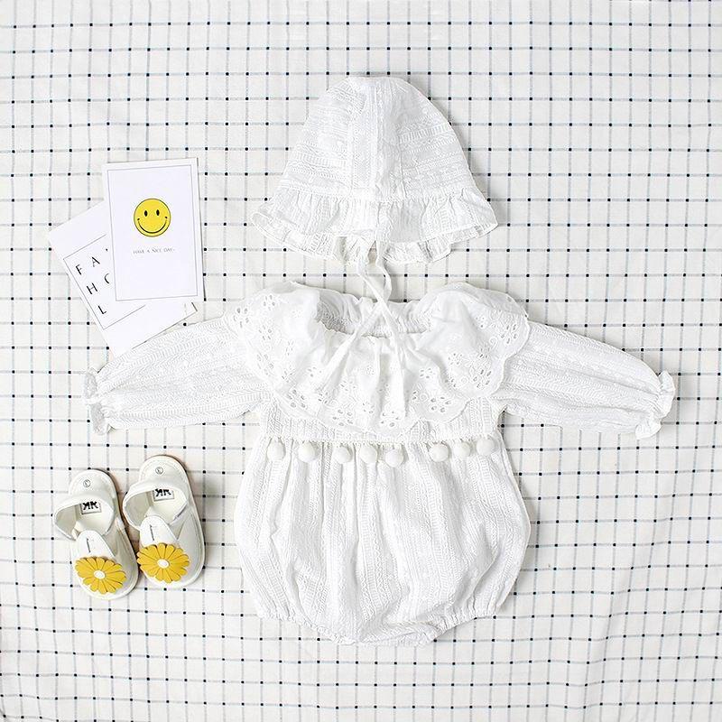 INS лето осень новый новорожденных девочек хлопок жаккард Белый Пом Пом кружева боди с шляпа новорожденных одежда 0-3T EG009