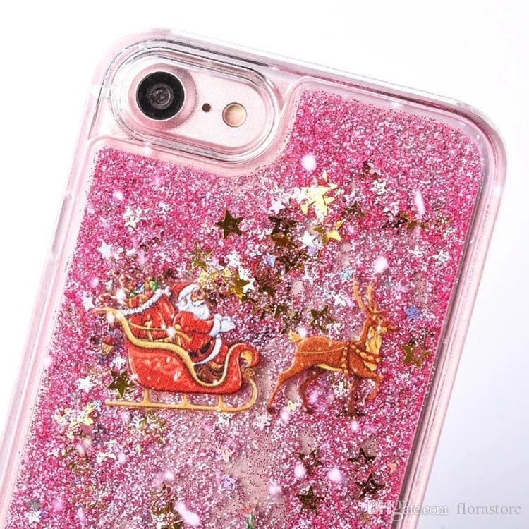 Christmas Tree Flow Phone Cover Bling Bling Liquid Christmas Phone Cases for iPhone 7 7p 5 5s 6 6s 6plus 6splus for Samsung