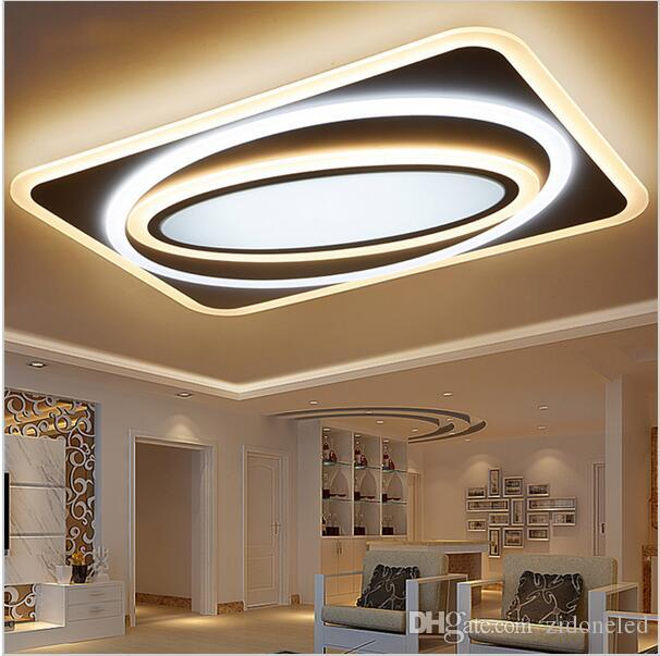 Modern Led Ceiling Chandelier Lights For Living Room Bedroom Rectangle Square New Acrylic Lamp Fixtures Top