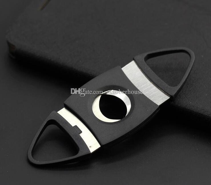 Tasca di plastica in acciaio inox a doppia lama Cigar Cutter Coltello Forbici Tabacco Nero buoni regali Forbici strumento di fumare 2 TIPO SCEGLI