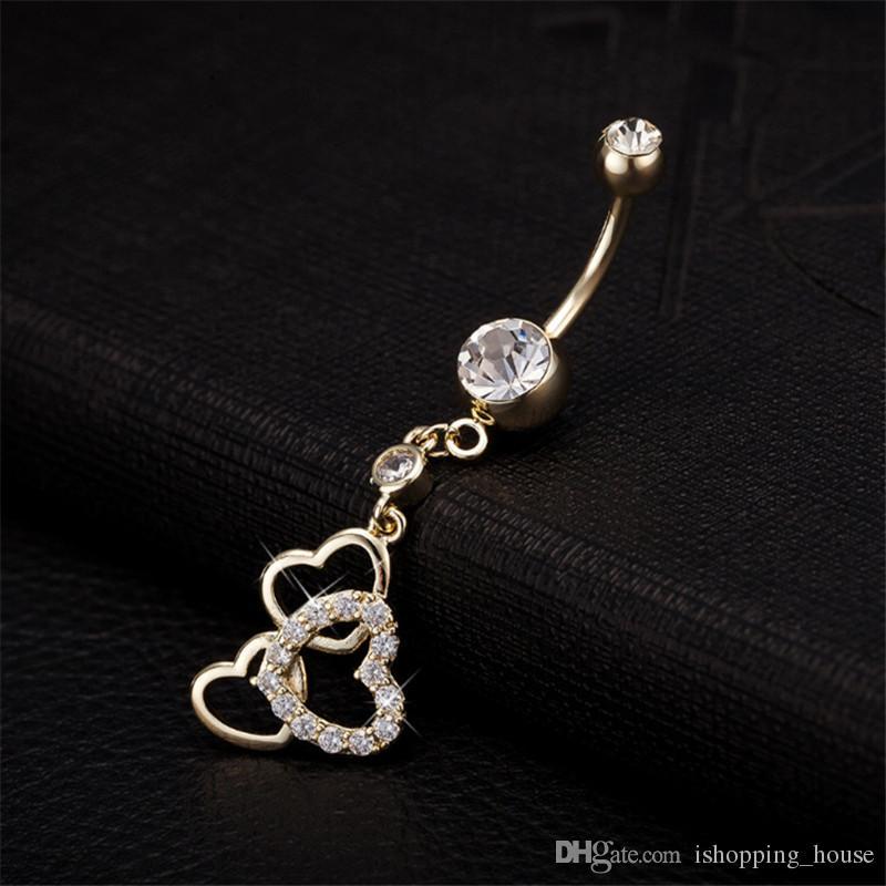 Heißer Verkauf Hohe Qualität 3 Herz Nabel Bar Glocke Taste Ringe Piercing Nabel Körperschmuck für Heiße Mädchen BR-043