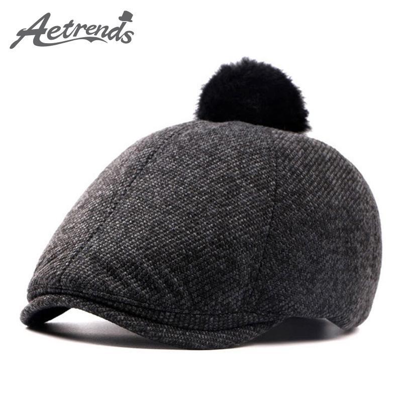 69b10568a97ce Wholesale-AETRENDS Women Winter Beret Hats Pompom Berets Warm ...