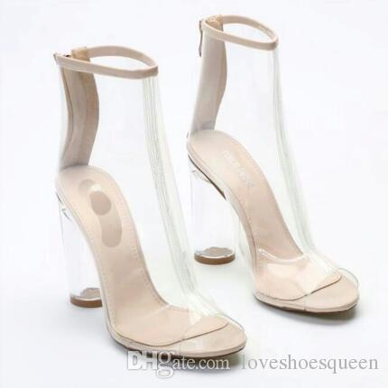 2017 femmes talon transparent Bottes PVC bottillons peep toe chaussons gladiateur effacer talon PVC bottes transparentes air