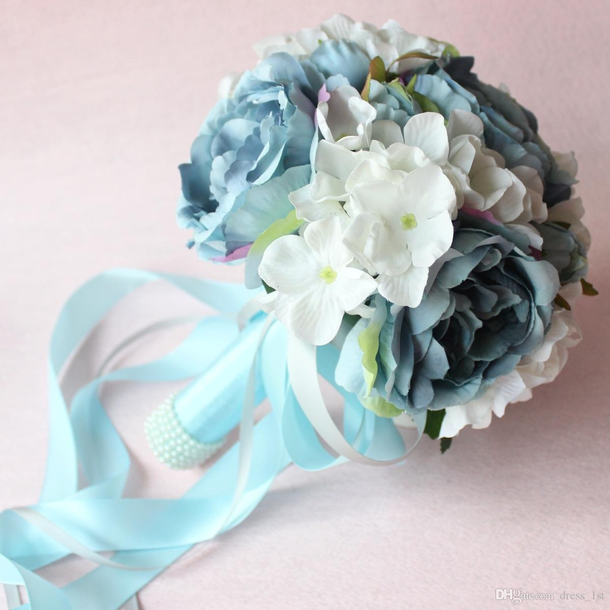 New Arrivals 2017 Light Blue Hand Made Flowers Wedding Bouquet For