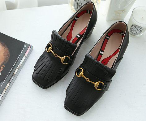 hot! fashion luxury women u706 40 black white red genuine leather tassel thick med heels shoes work loafers g classic designer