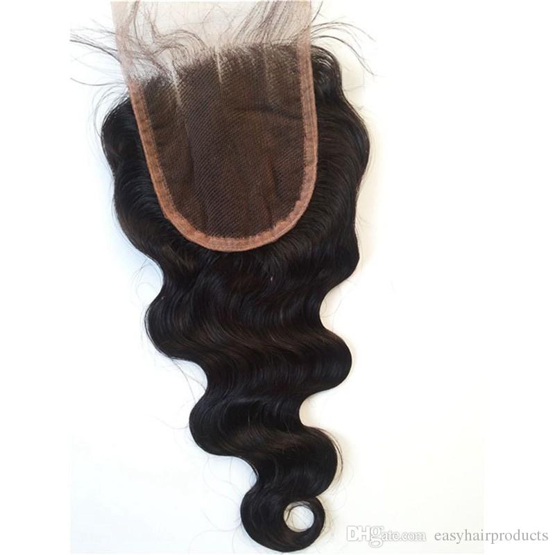 Brazilian Human Hair Closure 4*4 water wave peruvian hair deep wave body wave straight bleached knots free part swiss lace closure G-EASY