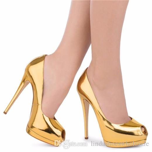 Gold Red Black Nude High Heels Platform Pumps Gold Women'S Shoes ...
