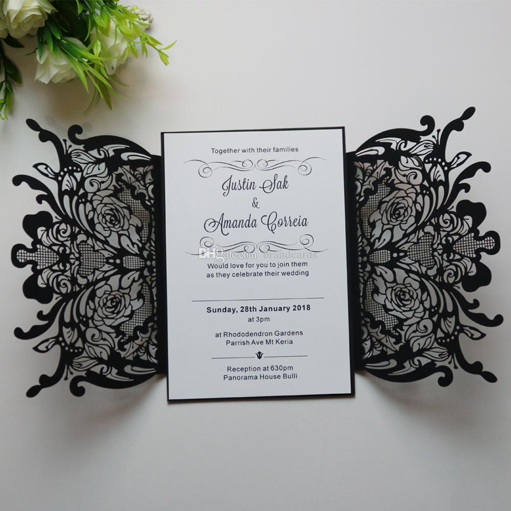 Personalized Engraved Floral Wedding Invitations Cards Laser Cut ...