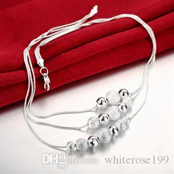 Partihandel - Retail Lägsta pris Julklapp 925 Silver Mode Smycken Gratis frakt Halsband BN020