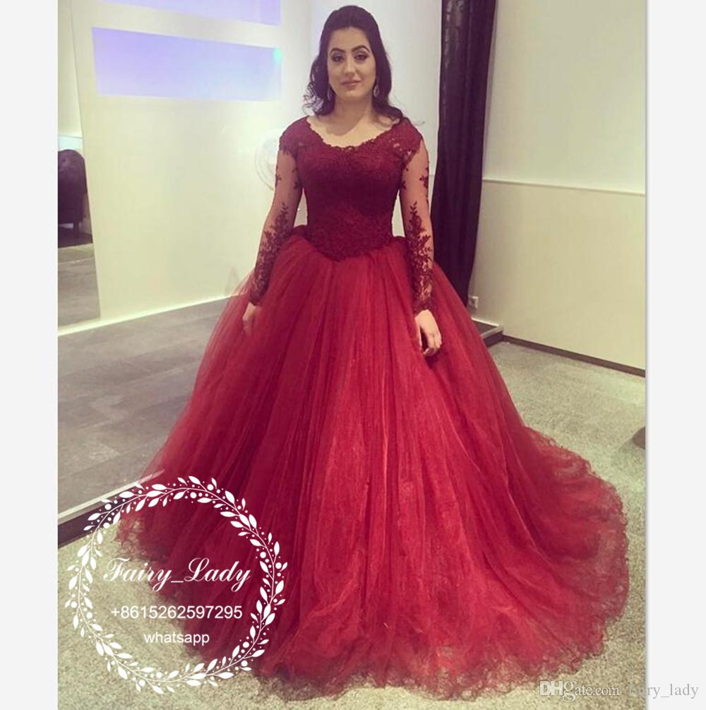 Dark Red Sheer Lace Appliques Wedding Dresses With Long Sleeves 2018 Puffy Ball Gown Plus Size Women Arabic Dubai Bridal Formal Gowns