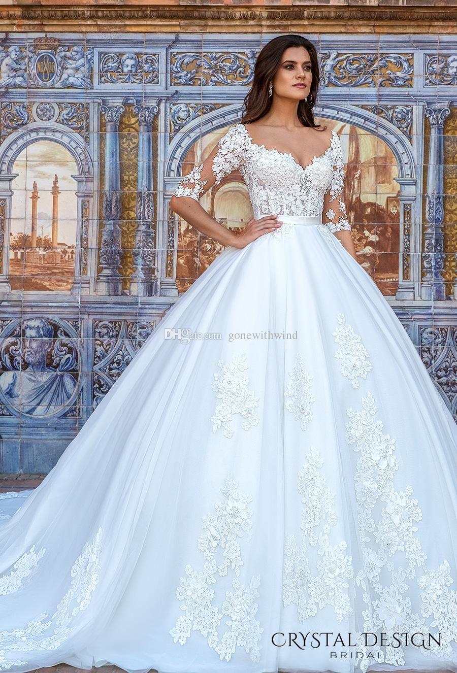 Princess Ball Gown Royal Train Wedding Dresses 2017