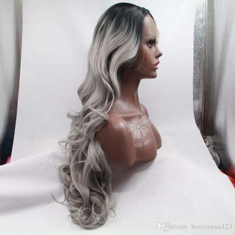 Top Quality Gray Synthetic lace front wig glueless body wave ombre grey color heat resustant synthetic lace front wig for bglack women