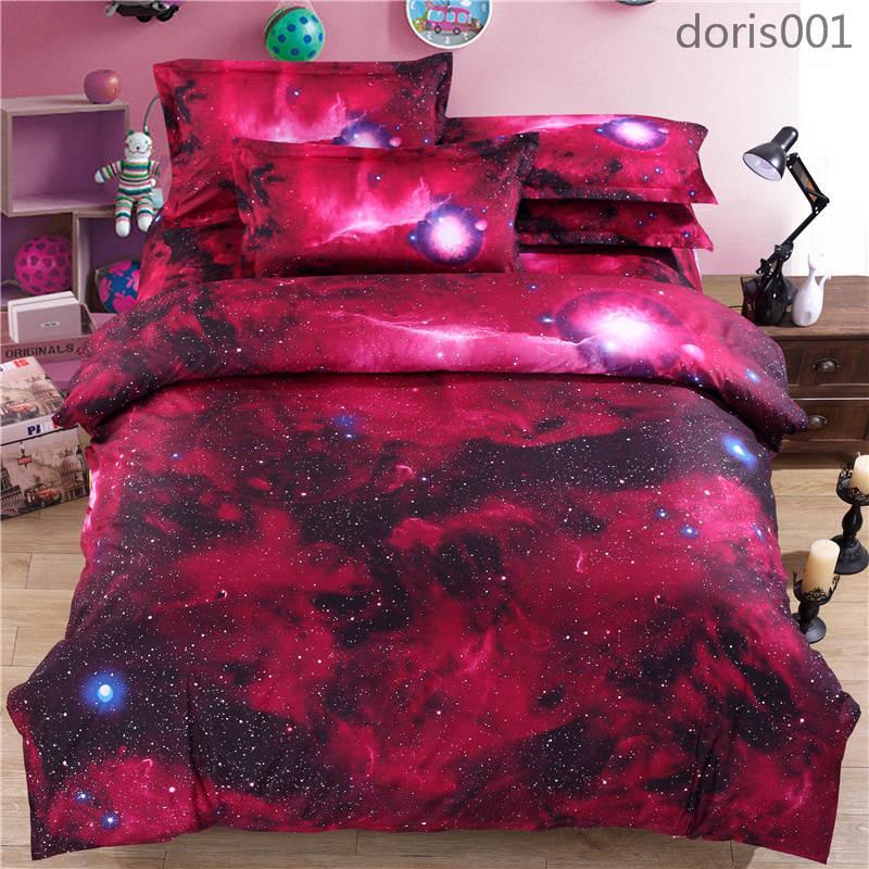 فاخر غالاكسي الفراش يحدد مجموعات القطن الكون الفضاء الخارجي تحت عنوان حاف غطاء السرير ورقة وسادة القضية الشحن المجاني