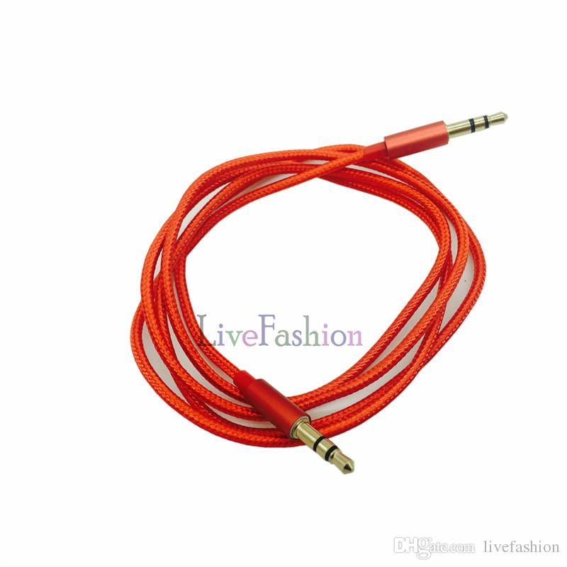 1M 3FT 3.5mm Stereo Audio AUX Cable Braided Woven Fabric Wire Auxiliary Cords Jack Male To Male For Iphone Samsung Mobile Phone MP3 MP4