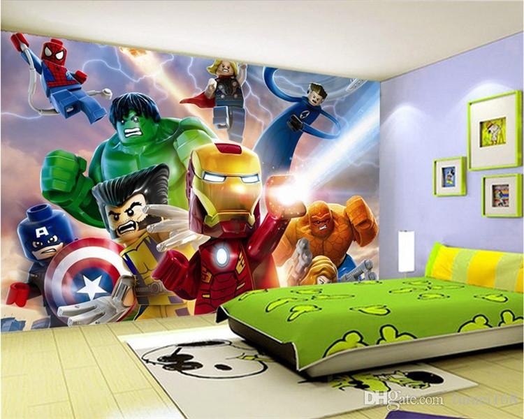 3D Lego Avengers Wallpaper for Walls Mural Cartoon Wallpaper Kids Bedroom  Room Decor TV Backdrop Wall Covering Photo Wallpaper Mural Wallpaper Custom  Wall. 3D Lego Avengers Wallpaper for Walls Mural Cartoon Wallpaper Kids