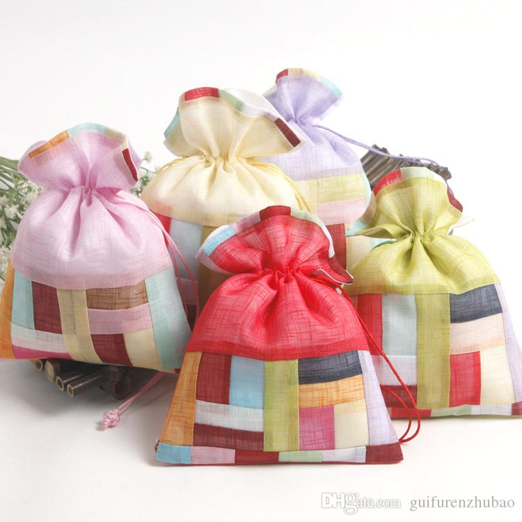 Patchwork Striped Large Drawstring Gift Pouch Travel Jewelry Makeup Packaging Bag Lavender Spice Sachet Candy Tea Storage Pocket