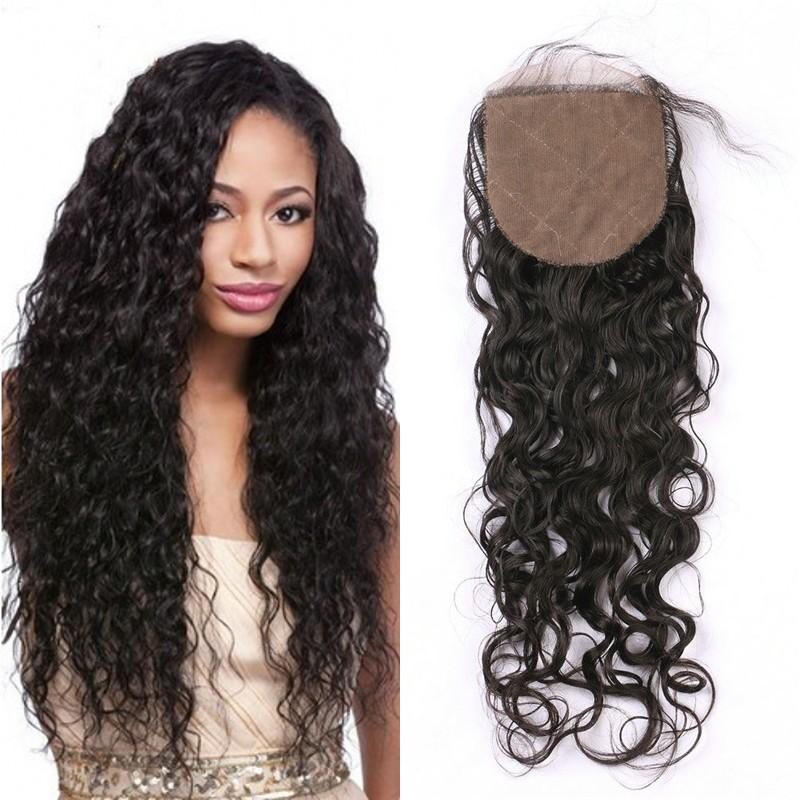 Indian silk base closure with baby hair 4x4 water wave human hair closure piece middle free 3 part FDSHINE
