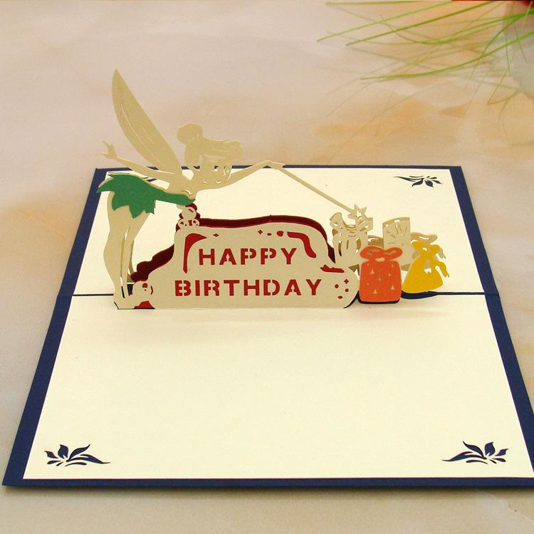 Laser Cut Wedding Invitations Korean Handmade Pop Up Card Cubic Little Fairy Birthday GreetingGift Cards Boxed Greeting Business From