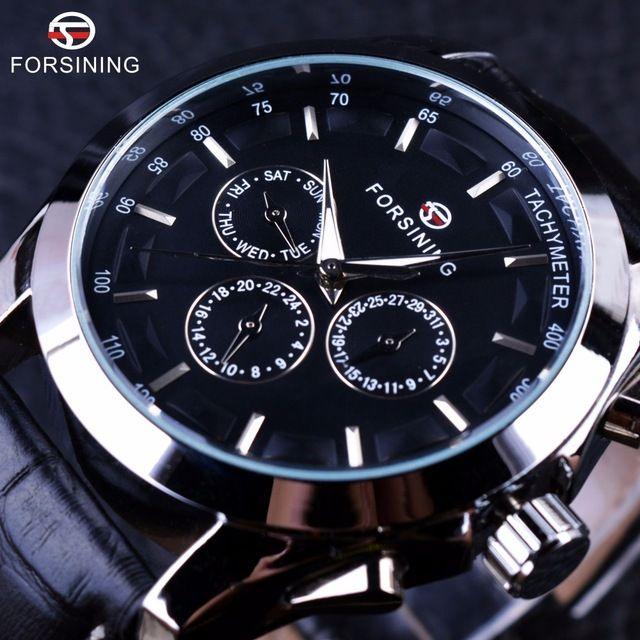 05e0d99f1ce Compre Forsining Negócio Série De Tempo Pulseira De Couro Genuíno Preto 3  De Discagem 6 Mãos Homens Relógios Top Marca De Luxo Relógio Automático  Relógio ...
