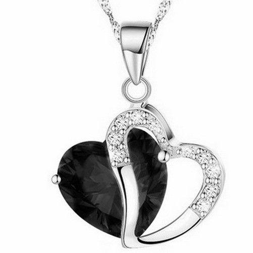 Hot Lady Fashion Heart Shaped Crystal Diamond plateó la joyería colgante del collar es J001