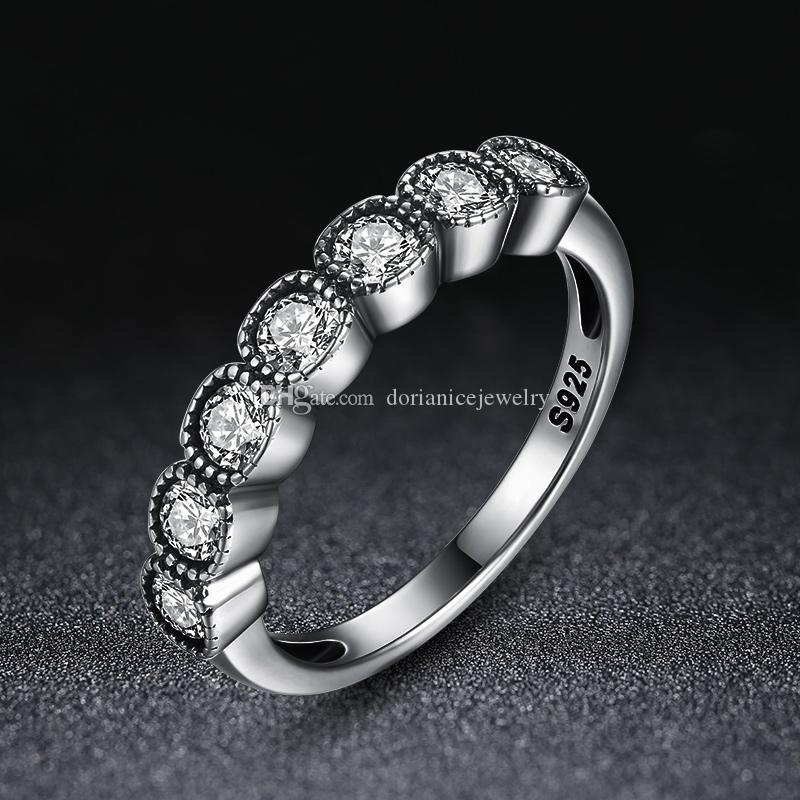 2c3d1227d03 Authentic 925 Sterling Silver Rings Alluring Cushion Clear CZ Finger Rings  Women Engagement Jewelry R097