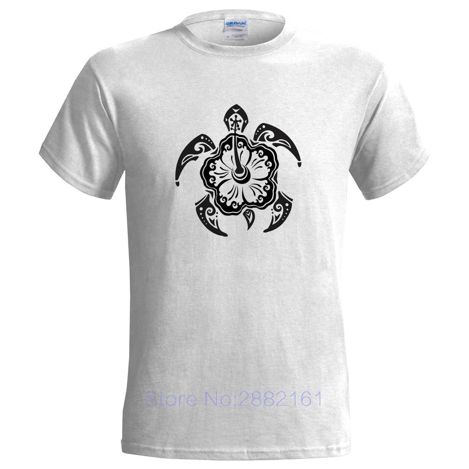 Tribal Turtle Design Mens T Shirt Tattoo Style Maori