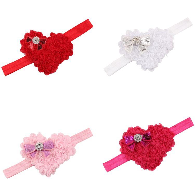 Cute Newborn Valentine's Day Heart-Shaped Headband Lovely Kids Sequin Bowknot Hair Accessories Little Girls Fashion Gift