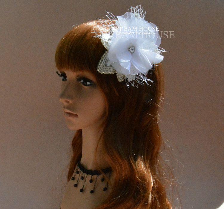 Woman headdress hair The bride with White Lace Chiffon Korean jewelry diamond pearl gauze Flower Hair Clips high-end custom