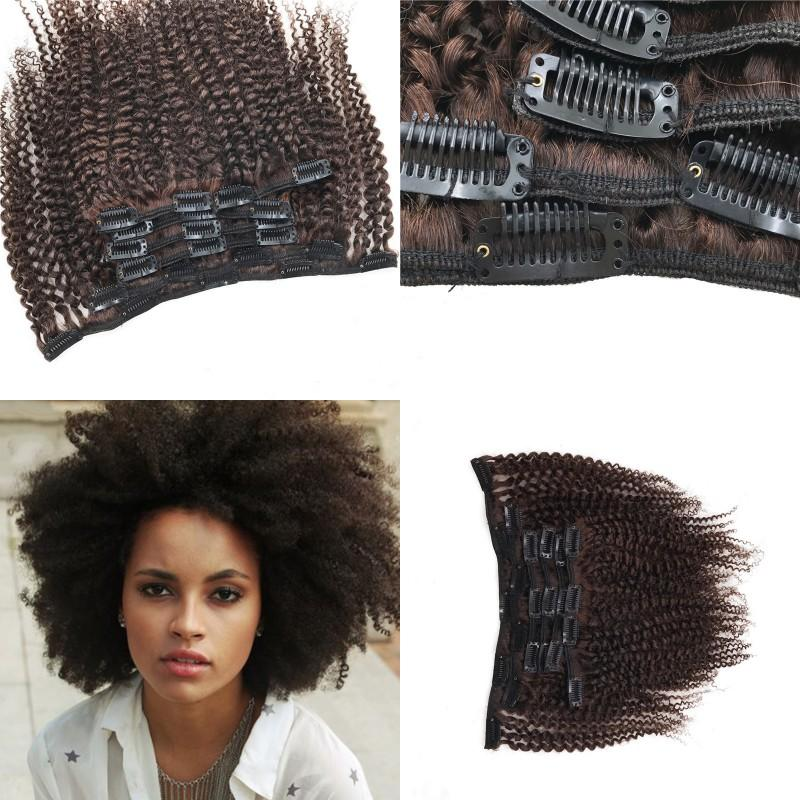 8 24 Inch Medium Brown Clip In Human Hair Extensions Malaysian Afro