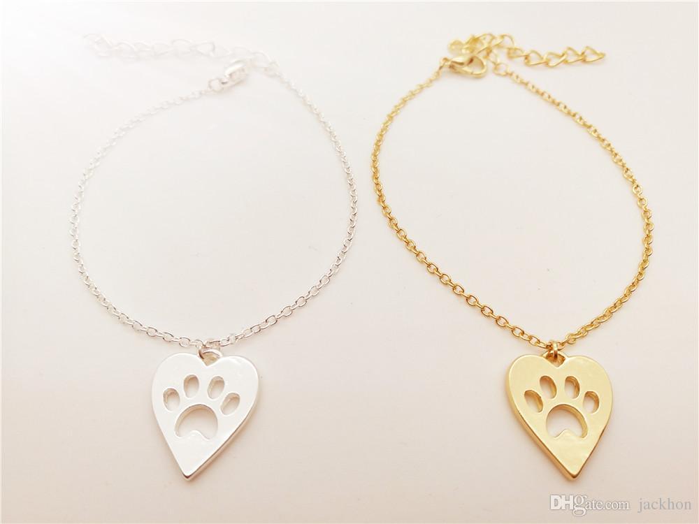 - B062 Cute Pet Heart Paw Bracelet Love Heart and Paw Bracelet Memorial Animal Puppy Bear Cat Dog Palm Print Bracelets