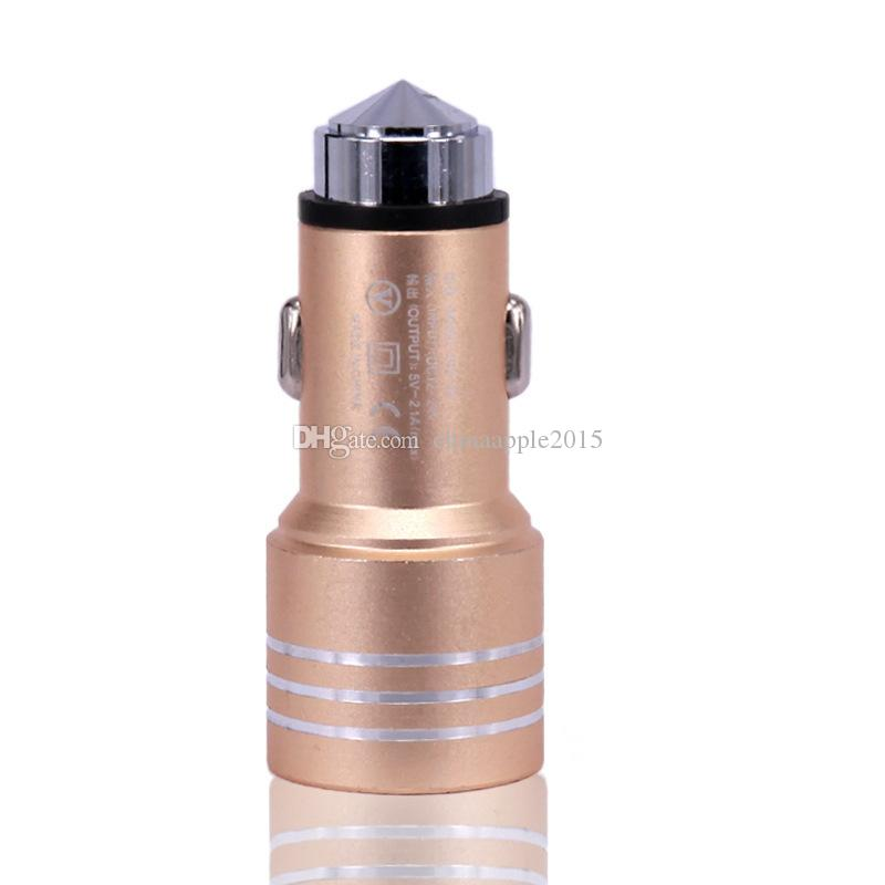 Best Price Emergency Safety Hammer Style Aluminum Alloy Metal Dual Port USB DC Car Charger For iphone 6 7 samsung s8 Android Phones