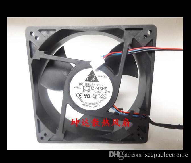 Orijinal Delta 12.7 CM 12738 EFB1324SHE 24 V 1.38A 4600 RPM 200CFM 58.5dBA 180,000 saat 3PIN cpu soğutucu soğutucu eksenel Soğutma Fanı Kullanılan Iyi