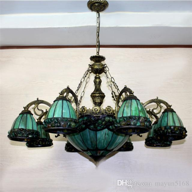 Discount Yellow Green Tiffany Chandelier European Vintage Glass Suspension Light Dining Room Hanging Lamp Pendientes Lustre Lighting Ceiling