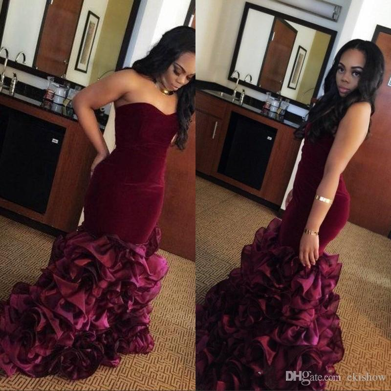 2017 New Burgundy Strapless Sweetheart Long Mermaid Prom Dresses Rose Floral Flowers Tiered Plus Size Formal Party Gowns Evening Dress