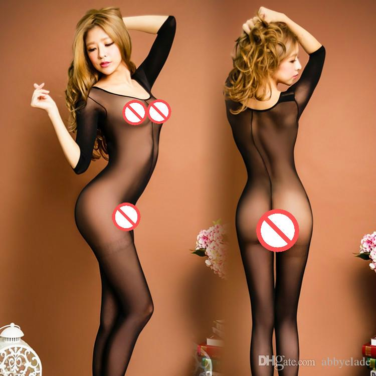 Brand New Crotchless Sexy Bodysuit женщин Allure Sexy Ночное Сексуальное белье бесплатно Размер Transparent одежды Нижнее белье Фетиш Чистые носки
