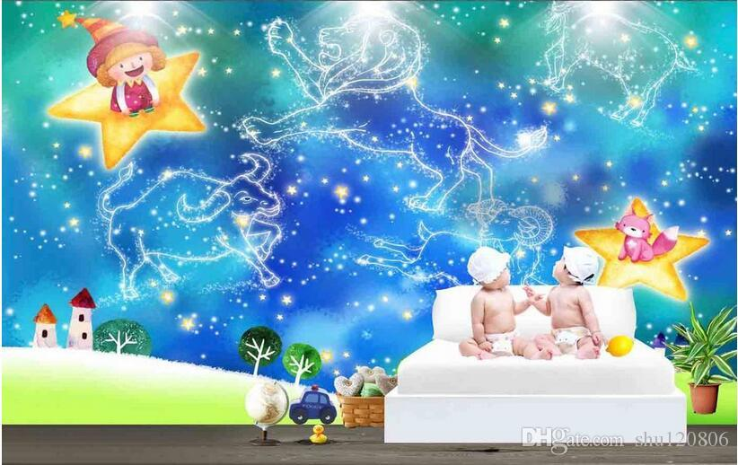 3d room wallpaper custom photo Blue Cartoon Constellation Kids Room decoration painting picture 3d wall murals wallpaper for walls 3 d