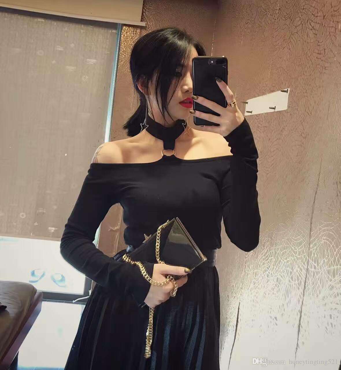 Yeni tasarım kadın seksi kore moda halter boyun metal halka patchwork uzun kollu tunik t-shirt artı boyutu XSSMLXLXXL