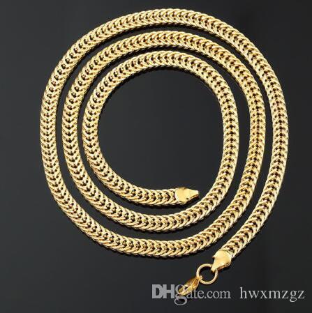 30-дюймовые длинные мужчины женщины 18K позолоченные лисокрыточные плоские цепные ожерелье 6 мм 53 г
