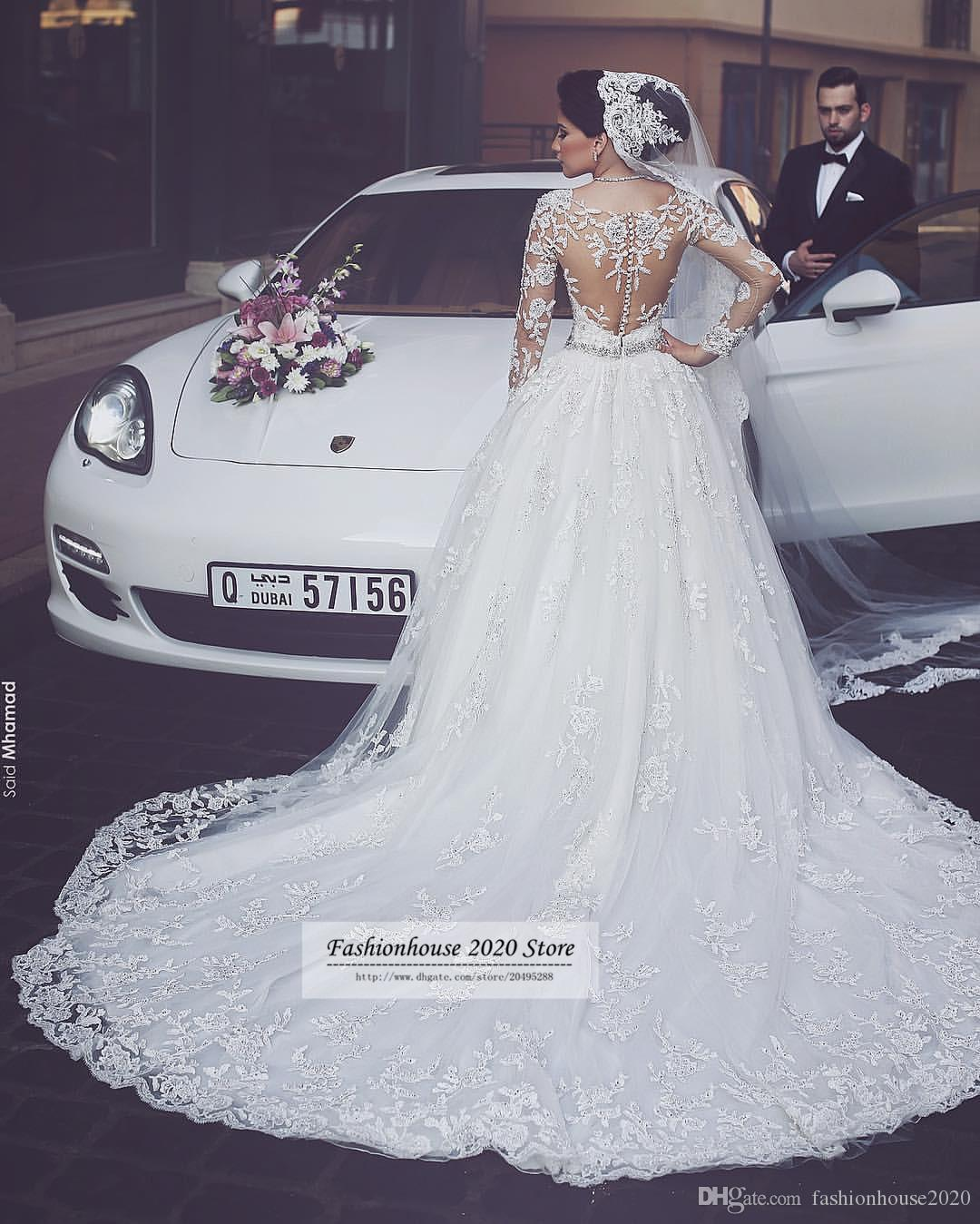Sexy Long Sleeve Arabic Wedding Dresses 2017 Scoop Neck Applique Luxury Crystal Wedding Gowns Plus Size Wedding Bride Dresses