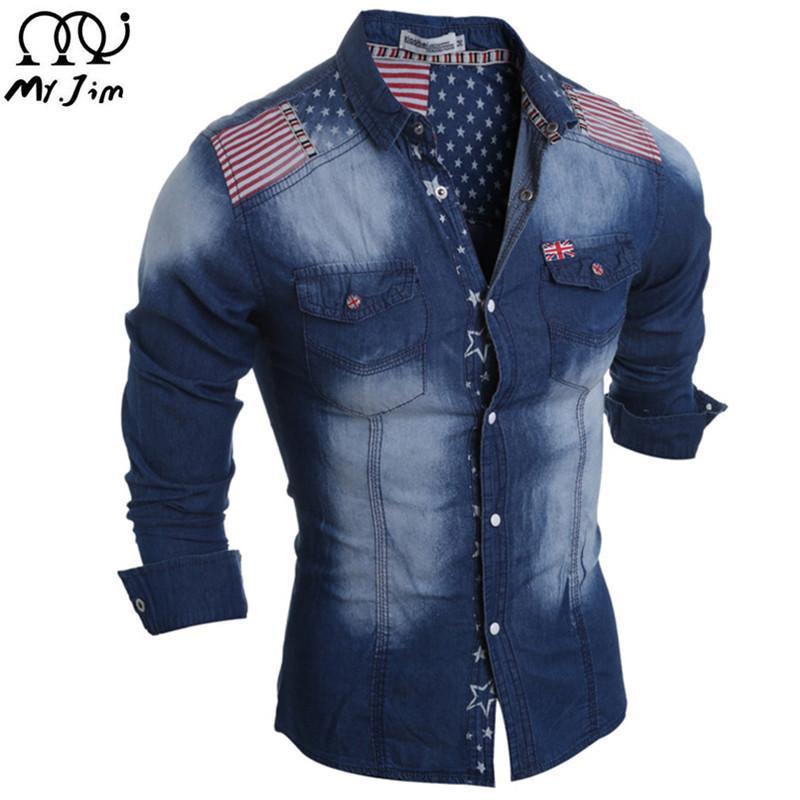 33c82eea5 2019 Wholesale MR.JIM 2016 New Brand Mens Denim Shirts Long Sleeve ...