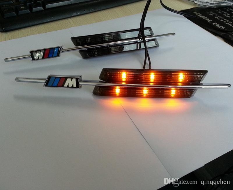 2 ADET / TAKıM LED Çamurluk Yan Dönüş Sinyalleri Kapı lambası YAN Işaretleyici Işık 12 V SMD3528 BMW Için Ampul Kiti E60 E61 E81 E82 E87 E88 E90 E91 E92 M Logo