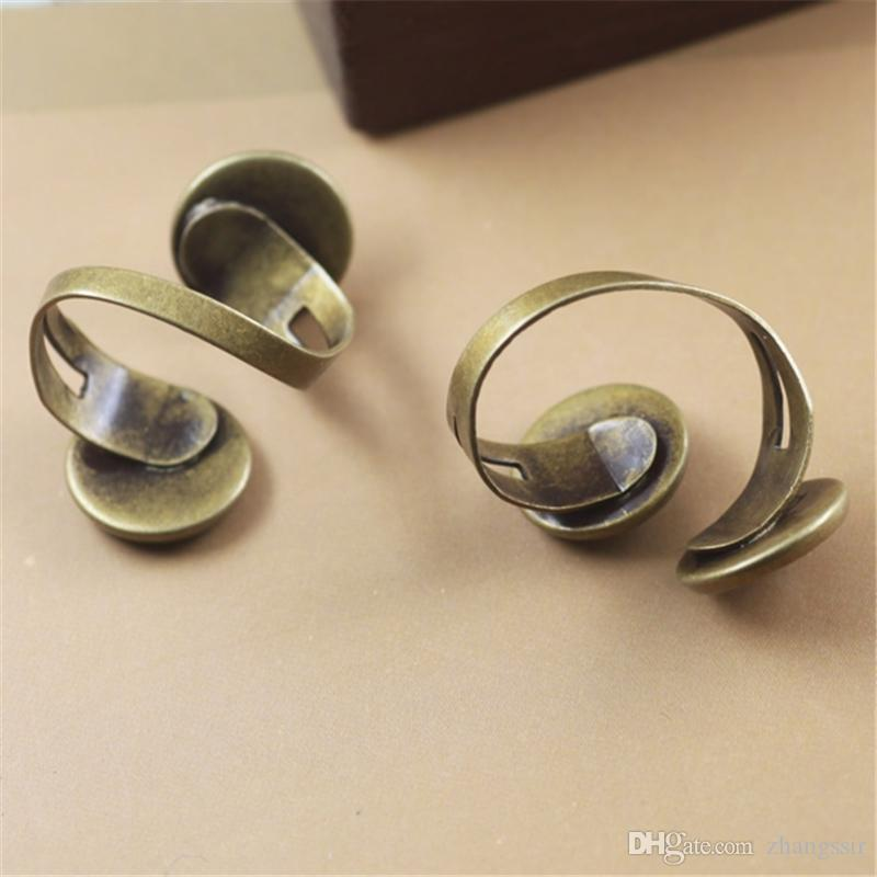 BoYuTe Hot Round 12MM Cabochon Base Setting Antique Bronze Plated Adjustable Ring Blank Bezel Tray Diy Jewelry Accessories